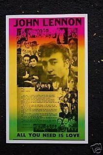 Beatles Poster John Lennon All you need is love