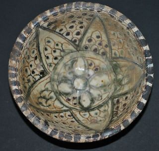 ANTIQUE PERSIAN IRAN GREEN & BROWN INCISED POTTERY CERAMIC BOWL