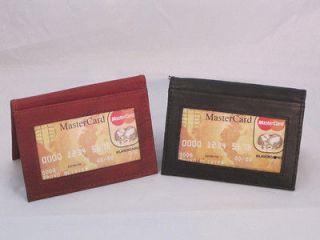 CREDIT CARD OUTSIDE ID HOLDER WALLET SET OF 2 SMALL SLIM BLACK BROWN