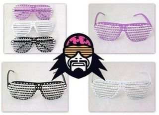 Macho Man Randy Savage Glitter Rhinestone Shutter Shades Glasses New