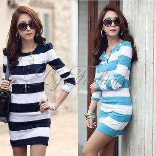 Womens Korean Fashion Stripe Long Sleeves T shirt Top Blouse Slim Fit