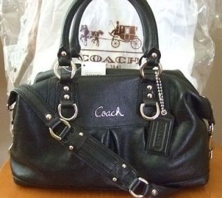 NEW NWT COACH ASHLEY BLACK LEATHER SATCHEL TOTE PURSE BAG 15445 $358