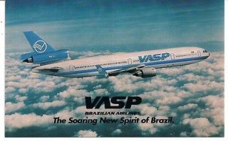 VASP BRAZILIAN AIRLINES MD 11 AIRLINE ISSUED POSTCARD  SOARING NEW