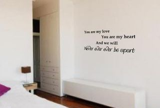 WALL ART JUSTIN BIEBER BABY (YOU ARE MY LOVE) SONG QUOTE STICKER DECAL