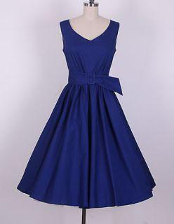 50s Audrey Hepburn Style Navy blue Dress Size L Pinup Vintage Swing