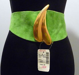 Donna Karan NY Lime Green NWT Suede Belt with Matte Gold Buckle Size