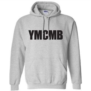 HOODIE YOUNG MONEY LIL WEEZY WAYNE SHIRT GRAY W/BLACK LETTERING LG