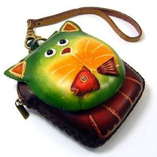 new leather kitty cat coin purse wallet handbag