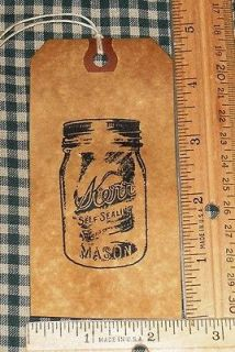 NEW ITEM* 25 LARGE ~ KERR MASON CANNING JAR ~ PRIMITIVE HANG TAGS LOT