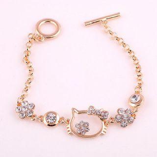New Lovely Hello Kitty Cat Sparkle Crystal Rhinestome Bangle Bracelet