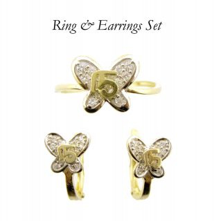 Gold Ring & Earrings Set Quinceanera 15 Theme for Teenagers, Kids