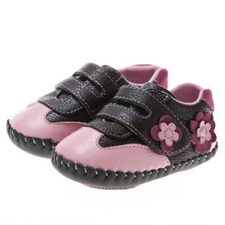 Little Blue Lamb Pink Brown Flower Leather Soft Soled Shoes Baby Girl
