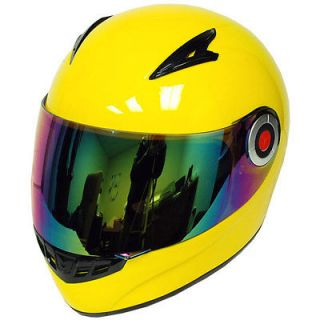 New Youth Kids Motorcycle Full Face Helmet Glossy Yellow Size S M L XL