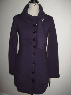MISS SIXTY Collection Dubay Dark Purple Long Sweater Coat S Made In
