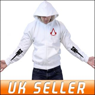 Assassins Creed 3 Join or Die Blade Zipped Hoody Hoodie Top Mens