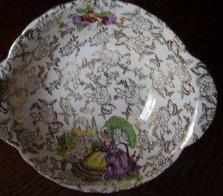 LORD NELSON WARE POMPADOUR SMALL TAB HANDLE BOWL ENGLAND CHINTZ 1930S