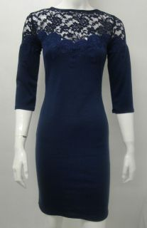 Kate Middleton Navy Blue Fitted Dress With Lace Detail & 3/4 Sleeves