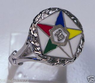 Masonic ladies OES Order of the Eastern Star White Gold Overlay size