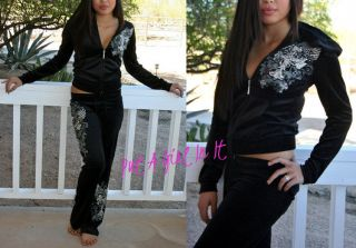 PLUS SIZE BLACK CRYSTAL CROSS ROSARY WINGS TATTOO SWEATSUIT JOGGING 1X
