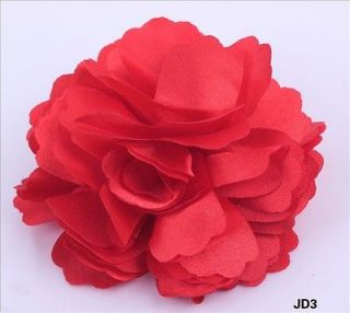 Red new Silk Peony Wedding party Corsage Hair Clip Brooch Flowers JD3