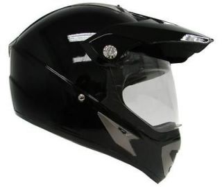 ~SOLID GLOSS BLACK MOTOCROSS UTV DUAL SPORT HYBRID HELMET w/SHIELD