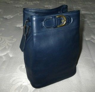 COACH VINTAGE CLASSIC BELTED RETRO SM NAVY BLUE LEATHER SLING BACKPACK
