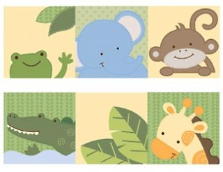 jungle animals monkey nursery baby kids room wall border decals