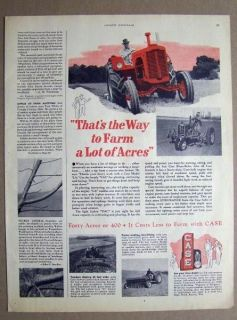 1952 Case LA and VAC Tractor Ad 13 by 10.5 Thats the Way to Farm a