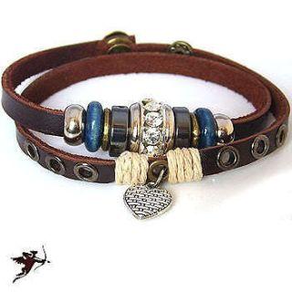 Leather bracelet heart wristband hemp bling rhinestone handcraft