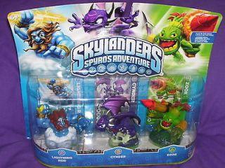 SKYLANDERS Spyros Adventure LIGHTNING ROD & CYNDER & ZOOK w/cards