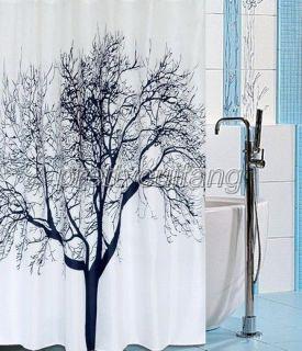 Abstract Landscape Tree Animal Bird Pattern Bathroom Fabric Shower