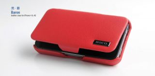 HOCO BARON Genuine Leather RED Case for IPHONE 4 / 4S BULK