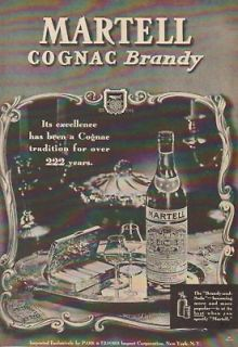 1937 martell cognac brandy france bottle 30 s photo ad