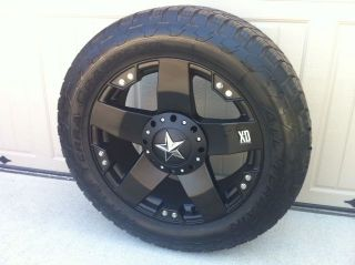 20X8.5 KMC XD SERIES ROCKSTAR MATTE BLACK 6 LUG CHEVY AND FORD/ NITTO