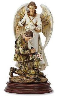 Guardian Angel w Praying Armed Forces Soldier Statue Figurine Home