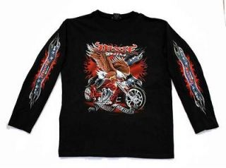 Rebel Dixie Pride Rebel Biker Motorcycle T Shirt Long Sleeve