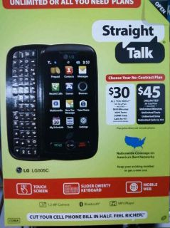 brand new in box straight talk lg 505c cell phone time left $ 109 00