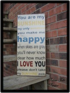 You Are My Sunshine Wood Sign Wall Decor Vintage Style Shabby Rustic