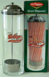 brand new in the box dr pepper glass straw dispenser