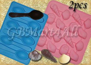 Lot of TWO Silicone Molds Chocolate Spoons and Sea Shells Party Mould
