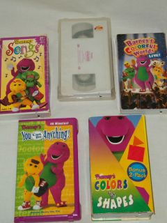Lot of 6 Barney VHS Tapes (Colors & Shapes, Songs, Circus)