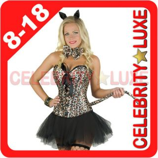 New Burlesque Leopard Tiger Print Lingerie Set Top Corset Costume
