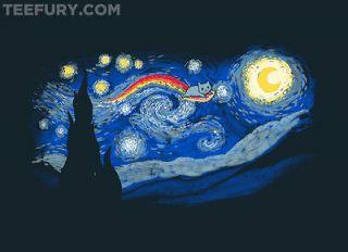 Rare ACROSS THE STARRY NIGHT Nyan Cat / Vincent Van Gogh MENS XL T