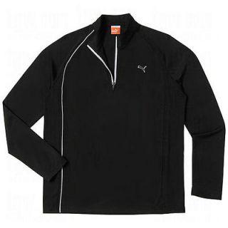 NEW 2012 Puma Mens Golf 1/4 Long Sleeve Polo Shirt Top Black Large