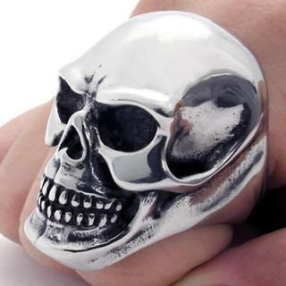 Heavy Black Silver Gothic Skull Stainless Steel Mens Ring W21372 09