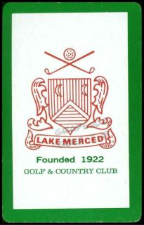 LAKE MERCED COUNTRY CLUB SAN FRANCISCO SINGLE PLAYING SWAP COLLECTIBLE