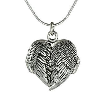 925 Sterling Silver GUARDIAN ANGEL WINGS HEART Photo Locket Pendant