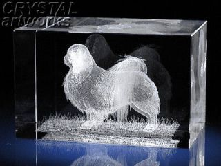 Newly listed *JAPANESE CHIN* 3D Laser Etched Crystal Dog Figure 57s