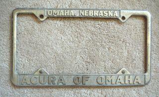 Acura Columbus on Nebraska Acura Of Omaha Vintage Cast Metal License Plate Frame