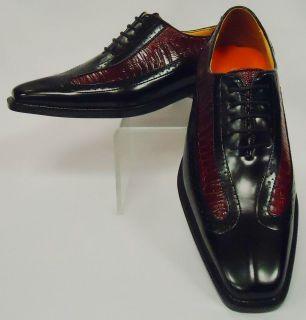 Mens Classy Black & Dark Red Spectator Wingtip Dress Shoes Antonio